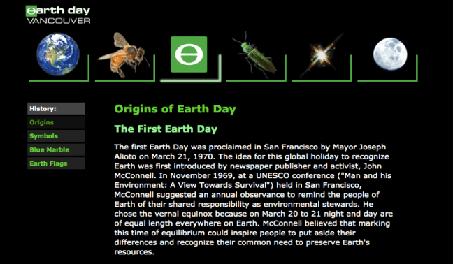 Image of Earth Day Vancouver brand and website created by Andrew Sorfleet